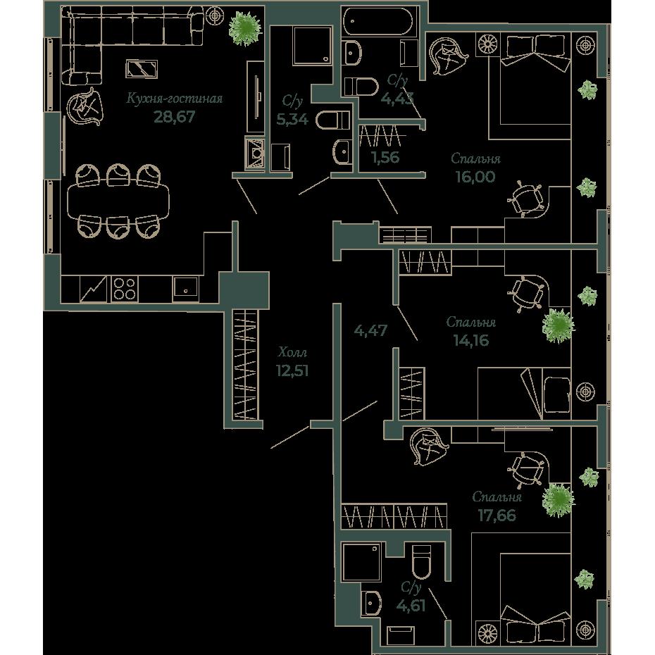 4-комнатная квартира, 108.8 м²; этаж: 6 - купить в Санкт-Петербурге