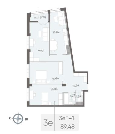 3-комнатная квартира №17А в: Neva Residence: 89.48 м²; этаж: 5 - купить в Санкт-Петербурге