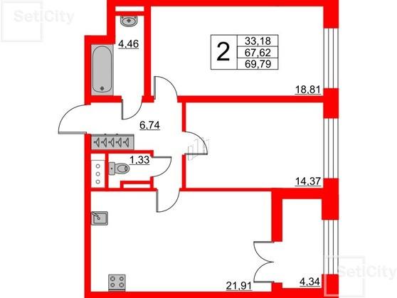 2-комнатная квартира, 67.62 м²; этаж: 8 - купить в Санкт-Петербурге