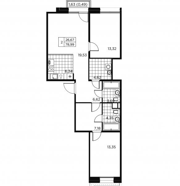 2-комнатная квартира, 79.48 м²; этаж: 9 - купить в Санкт-Петербурге