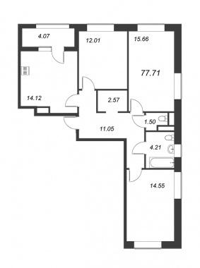 3-комнатная квартира, 77.71 м²; этаж: 11 - купить в Санкт-Петербурге