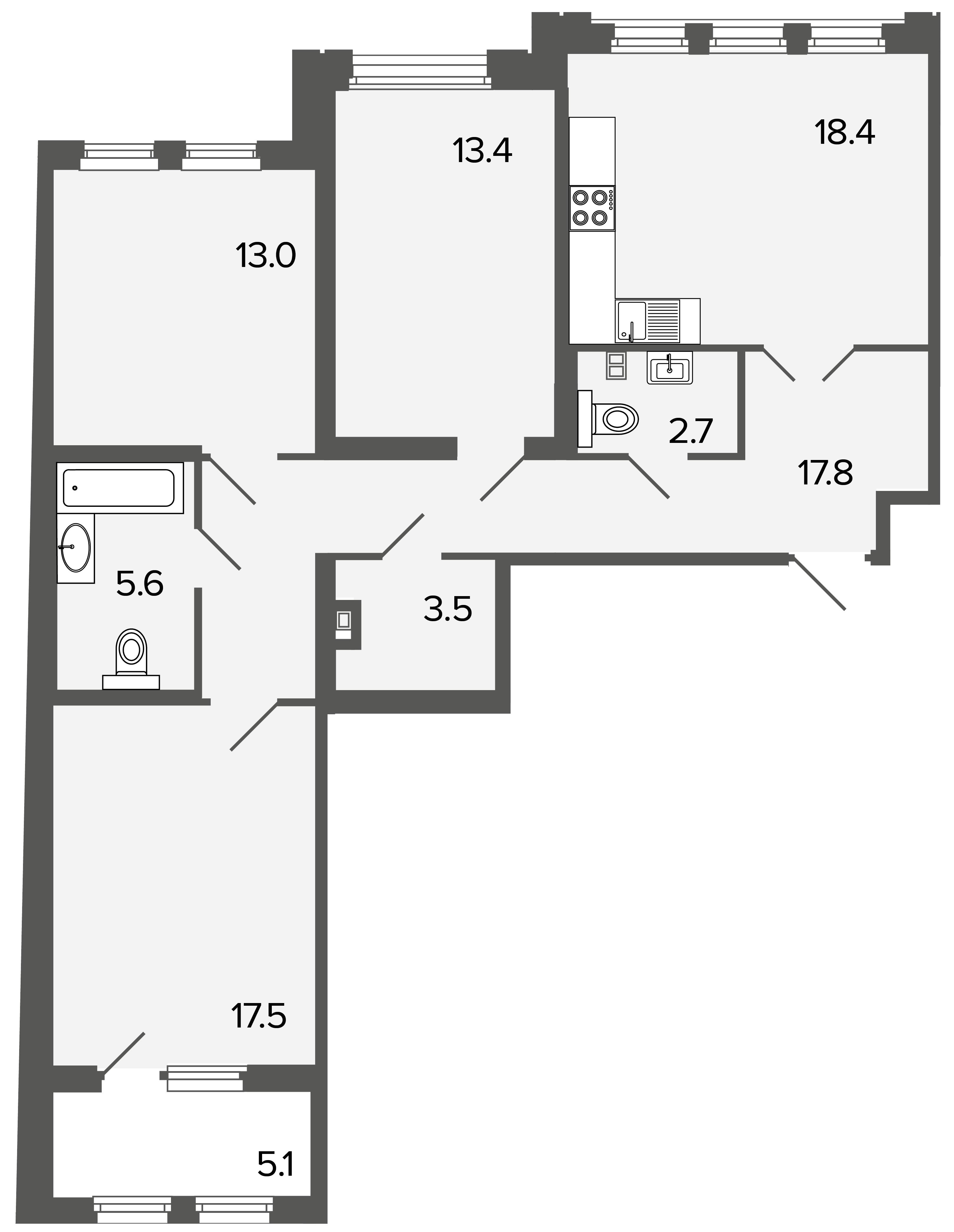 3-комнатная квартира №26 в: Созидатели: 91.9 м²; этаж: 3 - купить в Санкт-Петербурге