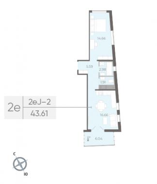 1-комнатная квартира, 43.61 м²; этаж: 6 - купить в Санкт-Петербурге