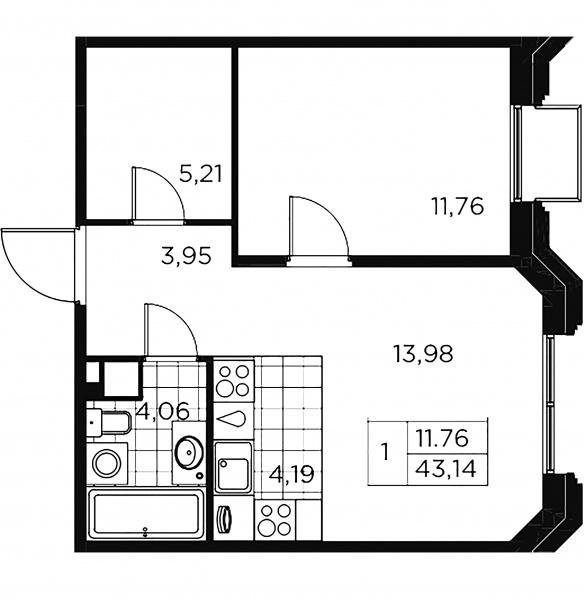 1-комнатная квартира, 43.14 м²; этаж: 8 - купить в Санкт-Петербурге