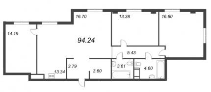3-комнатная квартира, 94.24 м²; этаж: 2 - купить в Санкт-Петербурге