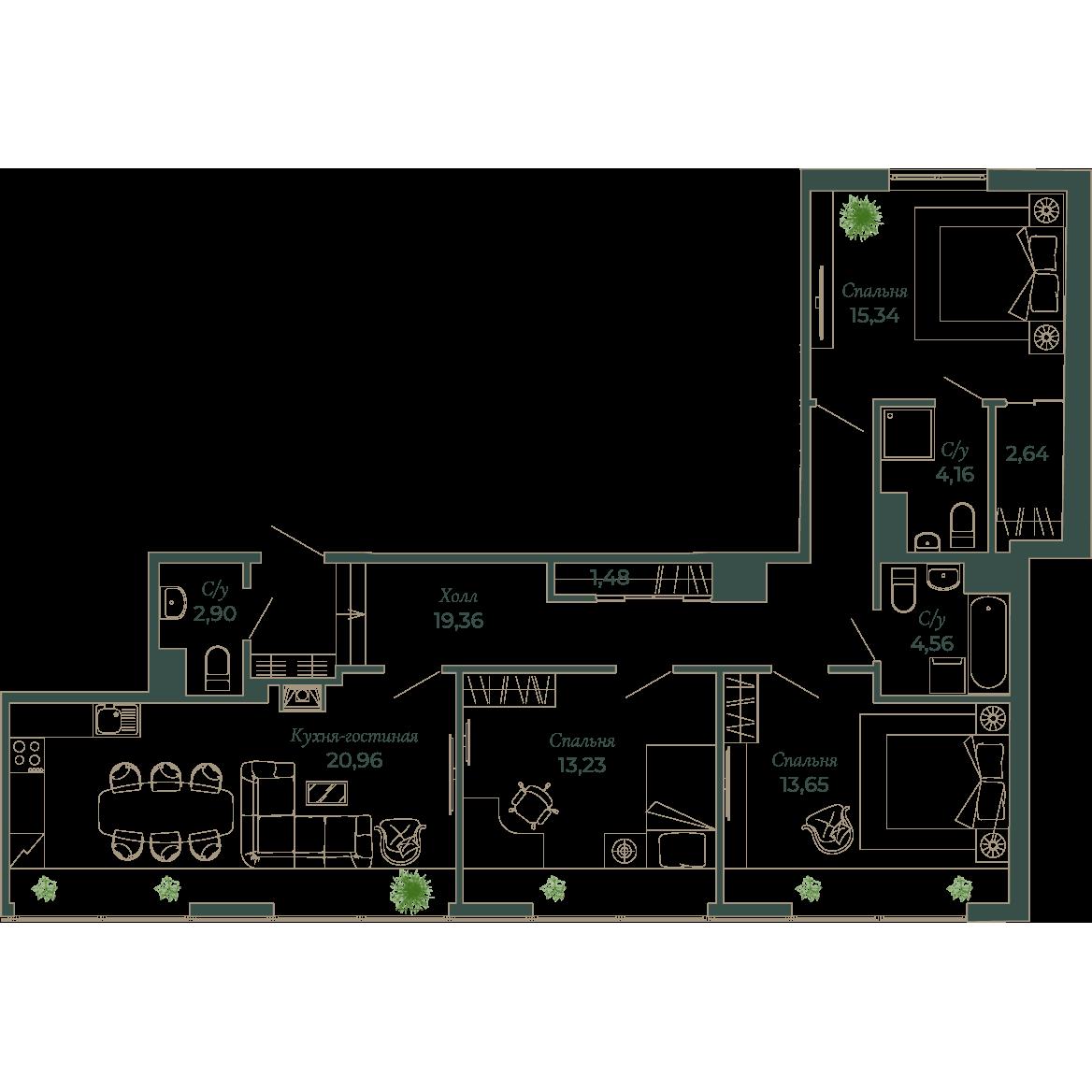 4-комнатная квартира, 102.5 м²; этаж: 6 - купить в Санкт-Петербурге