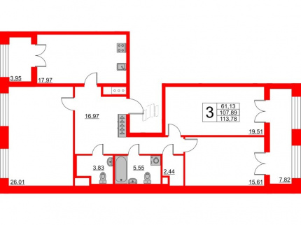 3-комнатная квартира, 107.89 м²; этаж: 4 - купить в Санкт-Петербурге