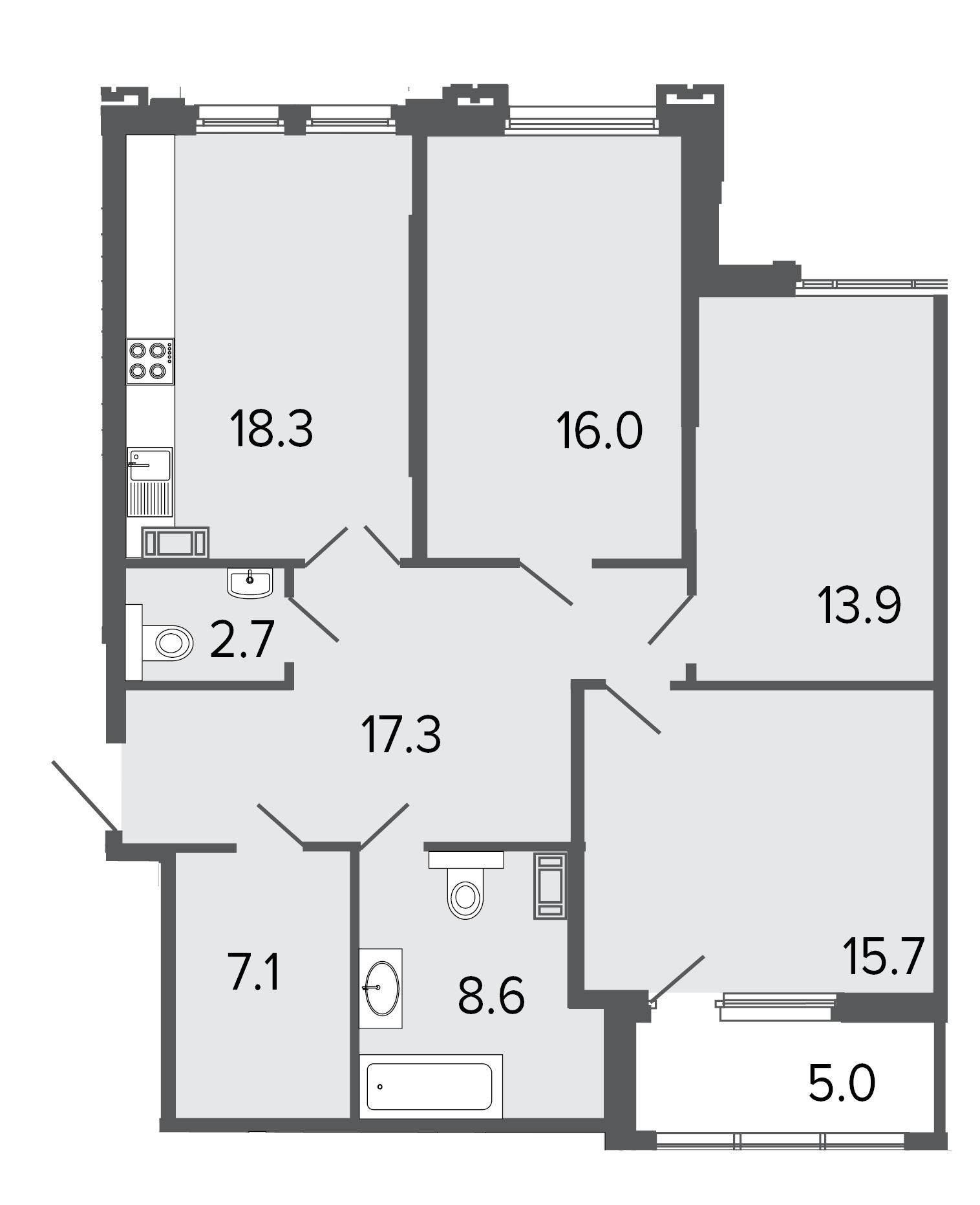 3-комнатная квартира, 99.6 м²; этаж: 8 - купить в Санкт-Петербурге