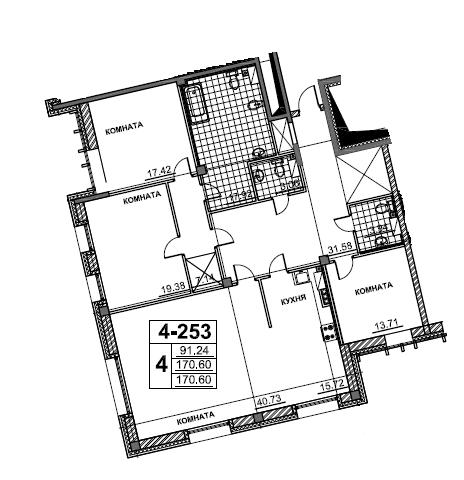 4-комнатная квартира №1 к.4 в: ЖК Смольный парк 2 очередь: 172.4 м²; этаж: 5 - купить в Санкт-Петербурге