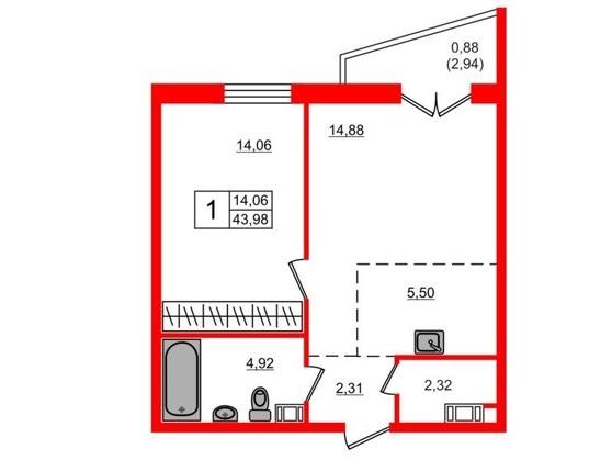 1-комнатная квартира, 43.5 м²; этаж: 18 - купить в Санкт-Петербурге