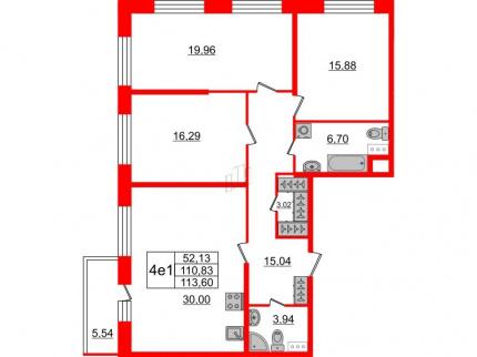 3-комнатная квартира, 110.83 м²; этаж: 3 - купить в Санкт-Петербурге