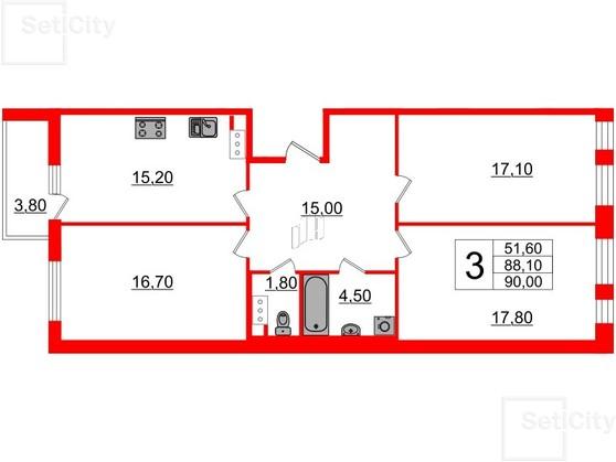 3-комнатная квартира, 88.1 м²; этаж: 5 - купить в Санкт-Петербурге