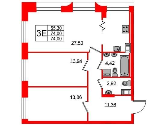 3-комнатная квартира, 74 м²; этаж: 8 - купить в Санкт-Петербурге