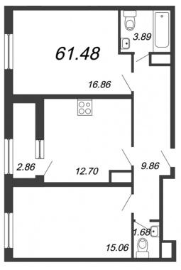 2-комнатная квартира, 61.48 м²; этаж: 12 - купить в Санкт-Петербурге