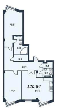 2-комнатная квартира, 121.7 м²; этаж: 5 - купить в Санкт-Петербурге