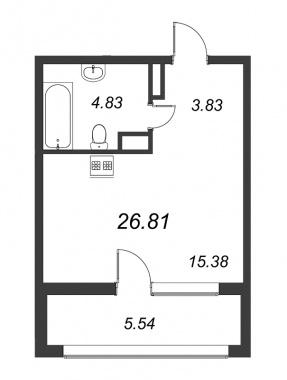 1-комнатная квартира №3А в: Терра: 26.81 м²; этаж: 9 - купить в Санкт-Петербурге