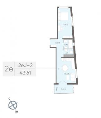 1-комнатная квартира, 43.61 м²; этаж: 10 - купить в Санкт-Петербурге