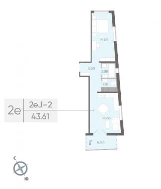 1-комнатная квартира, 43.61 м²; этаж: 4 - купить в Санкт-Петербурге