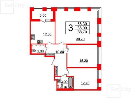 3-комнатная квартира, 86.9 м²; этаж: 5 - купить в Санкт-Петербурге