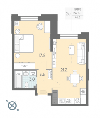 1-комнатная квартира №42 в: Цивилизация на Неве: 46.3 м²; этаж: 5 - купить в Санкт-Петербурге