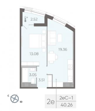 2-комнатная квартира №14 в:  Морская набережная.SeaView II очередь: 40.26 м²; этаж: 10 - купить в Санкт-Петербурге