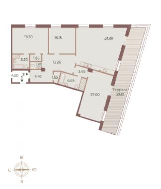 3-комнатная квартира, 163.4 м²; этаж: 9 - купить в Санкт-Петербурге