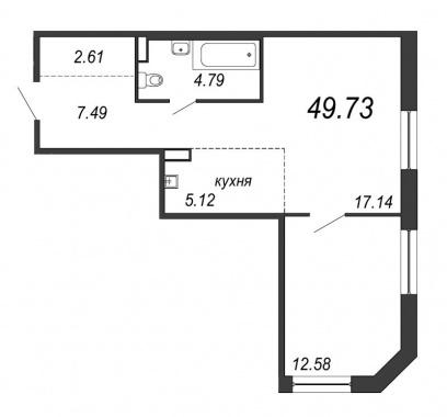 1-комнатная квартира, 49.73 м²; этаж: 3 - купить в Санкт-Петербурге