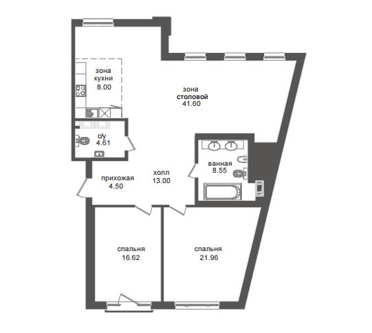 2-комнатная квартира №32А в: Приоритет: 116.83 м²; этаж: 4 - купить в Санкт-Петербурге