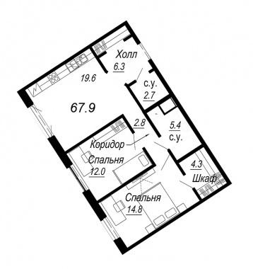 2-комнатная квартира №27 в: Meltzer Hall: 67.9 м²; этаж: 4 - купить в Санкт-Петербурге