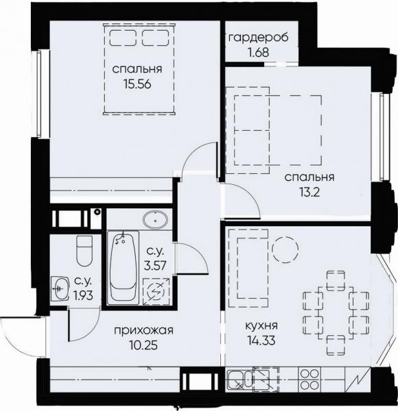 2-комнатная квартира №72 в: ID Moskovskiy: 60.52 м²; этаж: 8 - купить в Санкт-Петербурге