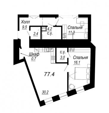 2-комнатная квартира №27 в: Meltzer Hall: 77.4 м²; этаж: 3 - купить в Санкт-Петербурге