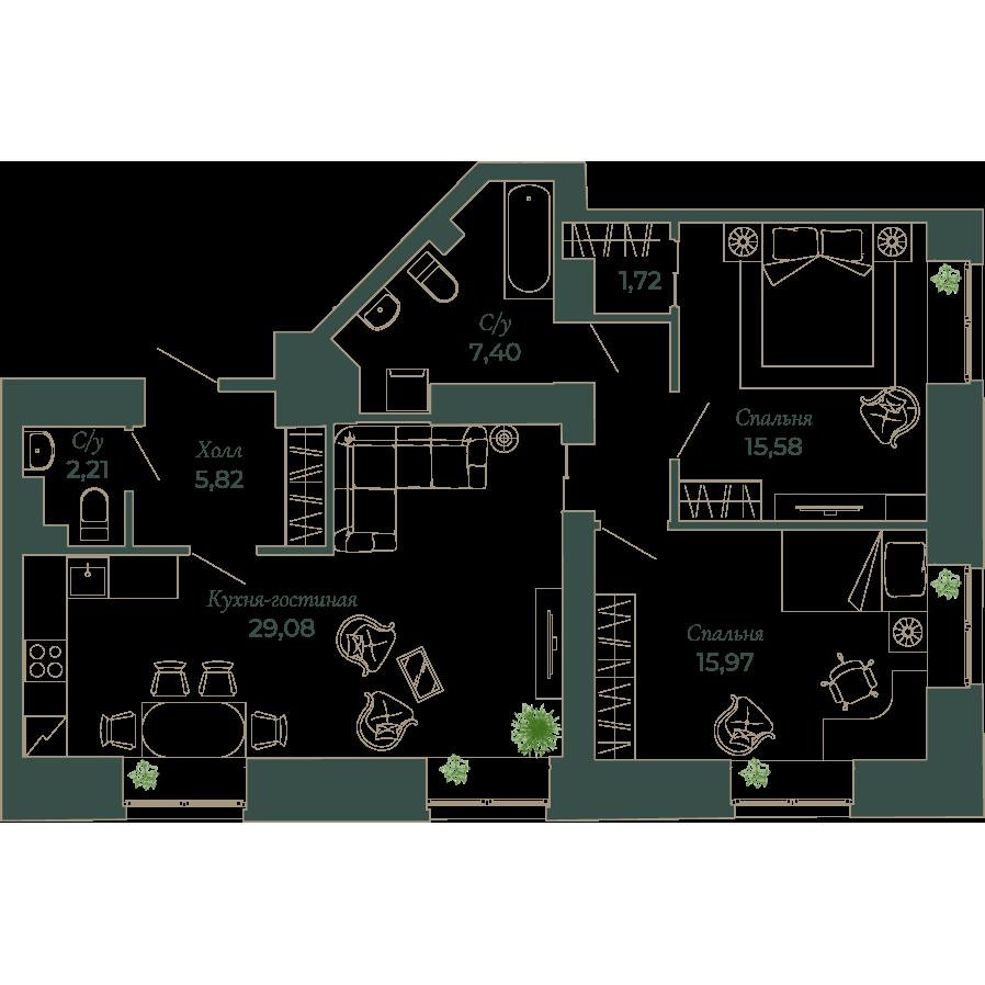 3-комнатная квартира, 80.7 м²; этаж: 2 - купить в Санкт-Петербурге