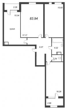 3-комнатная квартира, 83.94 м²; этаж: 6 - купить в Санкт-Петербурге