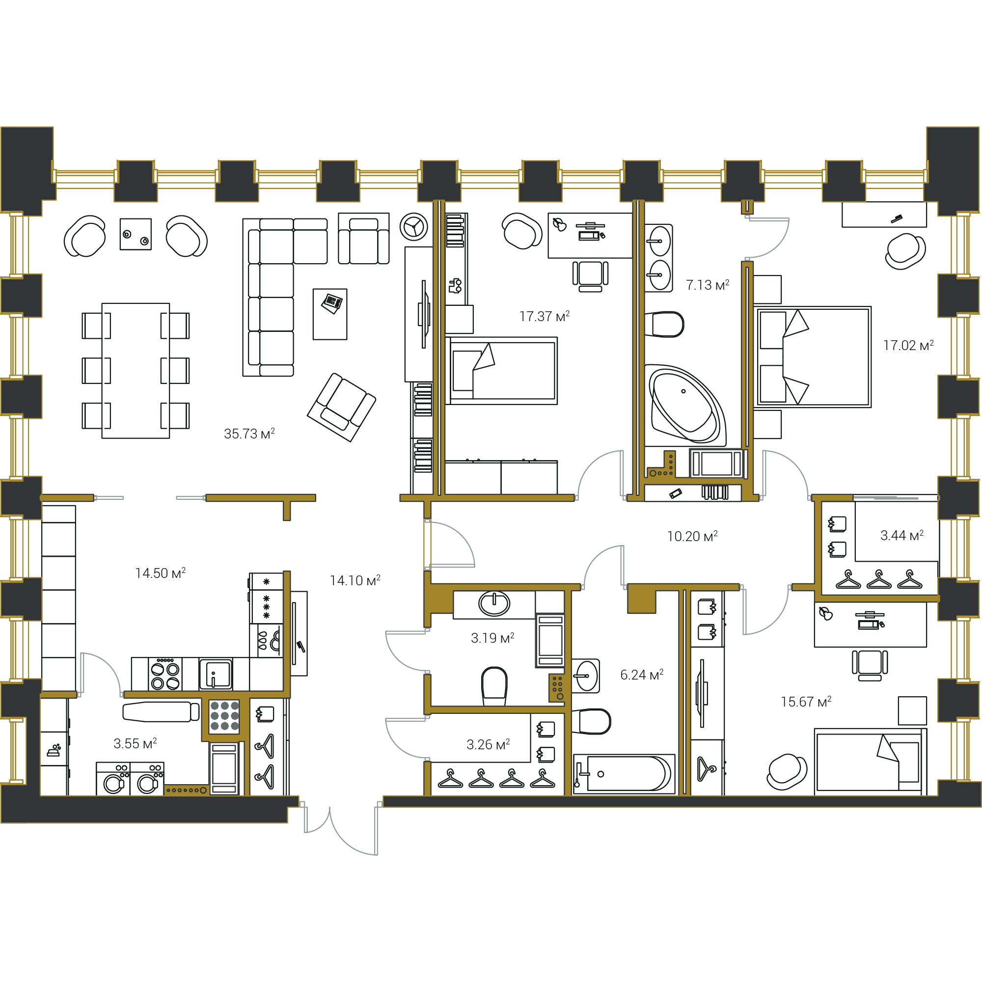 3-комнатная квартира, 151.4 м²; этаж: 18 - купить в Санкт-Петербурге