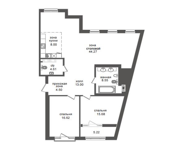 2-комнатная квартира №32А в: Приоритет: 119.26 м²; этаж: 6 - купить в Санкт-Петербурге