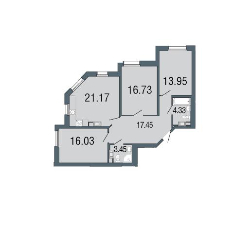 3-комнатная квартира, 93.9 м²; этаж: 2 - купить в Санкт-Петербурге