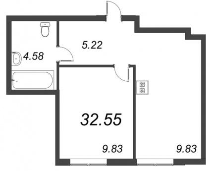 1-комнатная квартира, 32.55 м²; этаж: 2 - купить в Санкт-Петербурге