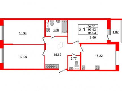 3-комнатная квартира, 93.52 м²; этаж: 5 - купить в Санкт-Петербурге