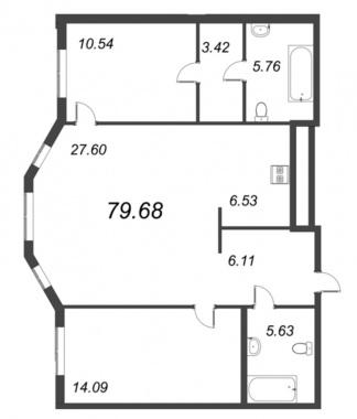 2-комнатная квартира №72 в: ID Moskovskiy: 79.68 м²; этаж: 3 - купить в Санкт-Петербурге