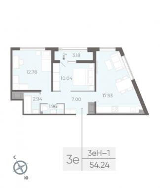 2-комнатная квартира, 54.24 м²; этаж: 6 - купить в Санкт-Петербурге
