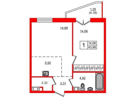1-комнатная квартира, 43.7 м²; этаж: 19 - купить в Санкт-Петербурге