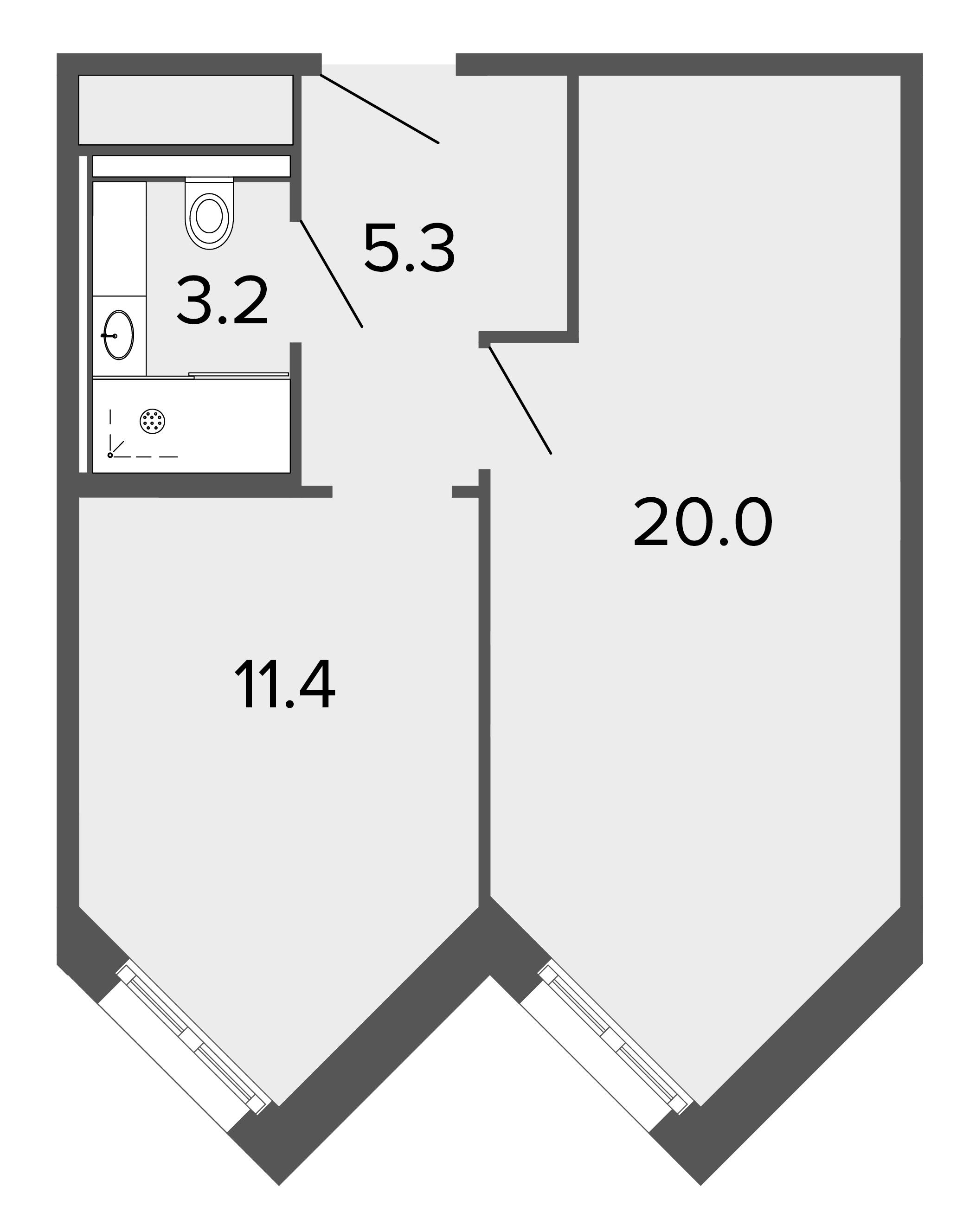 1-комнатная квартира, 40.4 м²; этаж: 8 - купить в Санкт-Петербурге