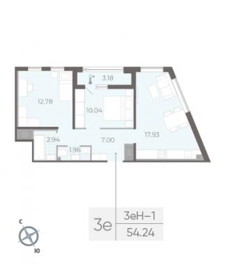 2-комнатная квартира, 54.24 м²; этаж: 8 - купить в Санкт-Петербурге