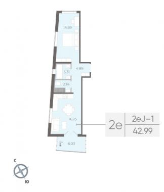 1-комнатная квартира, 42.99 м²; этаж: 10 - купить в Санкт-Петербурге