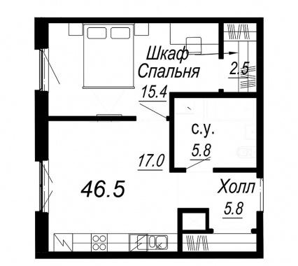 1-комнатная квартира, 46.5 м²; этаж: 5 - купить в Санкт-Петербурге