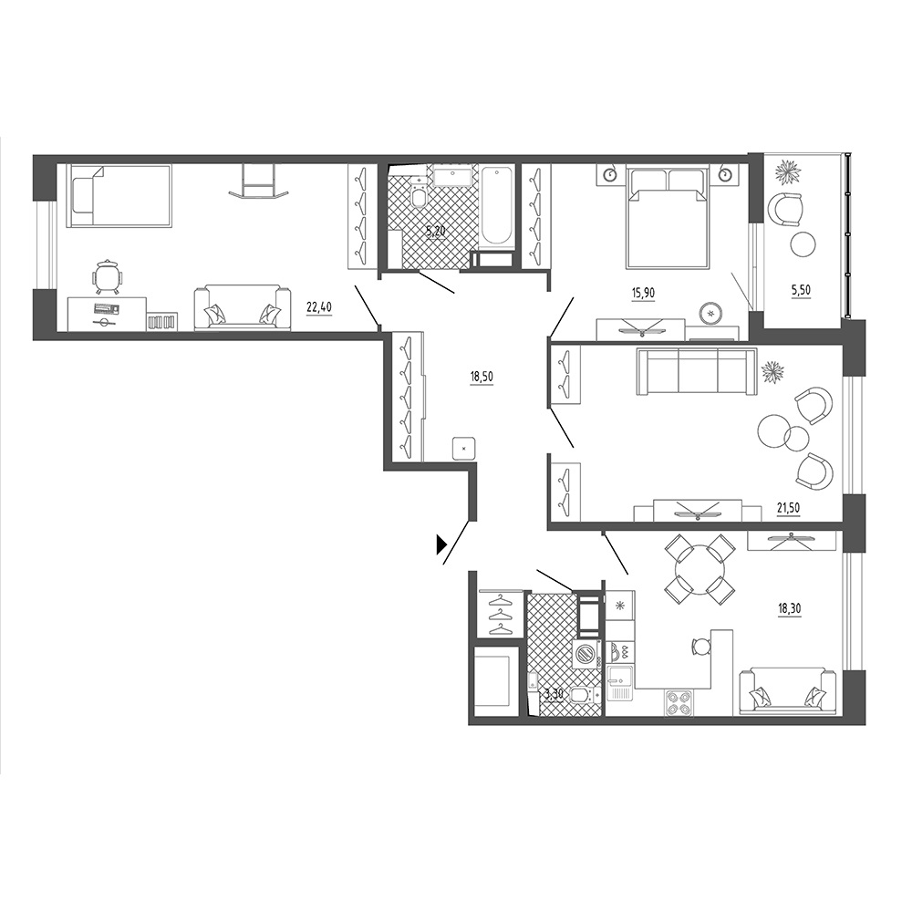 3-комнатная квартира, 109.3 м²; этаж: 18 - купить в Санкт-Петербурге