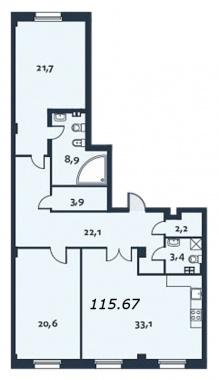 2-комнатная квартира, 115.8 м²; этаж: 2 - купить в Санкт-Петербурге