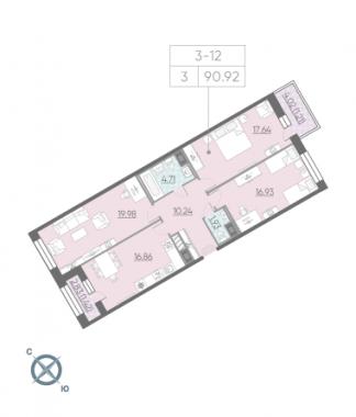 3-комнатная квартира, 90.92 м²; этаж: 4 - купить в Санкт-Петербурге