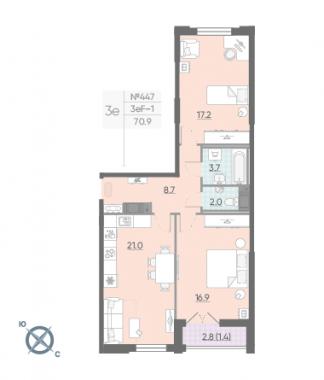 2-комнатная квартира №42 в: Цивилизация на Неве: 70.9 м²; этаж: 16 - купить в Санкт-Петербурге