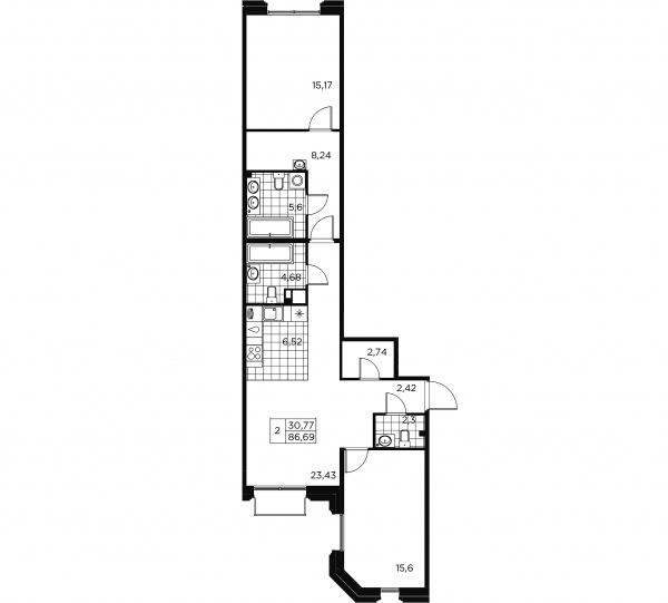 2-комнатная квартира, 86.69 м²; этаж: 6 - купить в Санкт-Петербурге